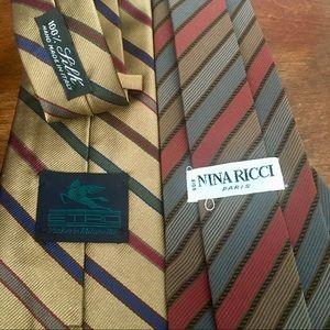 Etro & Nina Ricci VTG Lot Of 2 Silk Ties